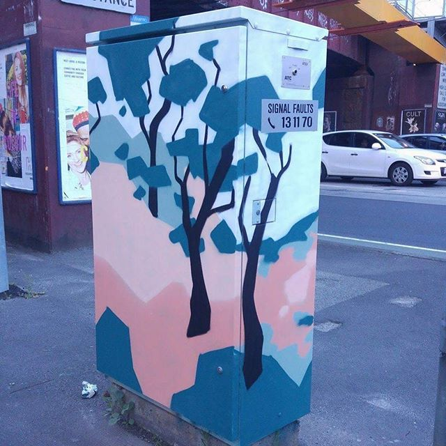 Another of the amazing electrical boxes painted by the very talented @helen___proctor  for our Signals project in Moonee Valley. No. 2 of 8. #mooneeart #mofproject #signals #publicart