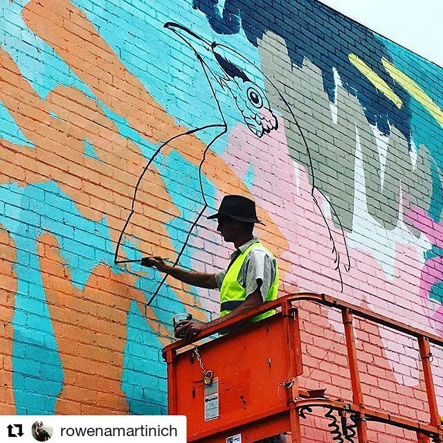 Reposting these awesome progress shots! @rowenamartinich -- Work in progress on the mural site ✨@geoffreycarran mapping in a giant regent honeyeater  @niddrie_shopping_precinct #mural #painting #publicart #martinichandcarran #colab #collaboration