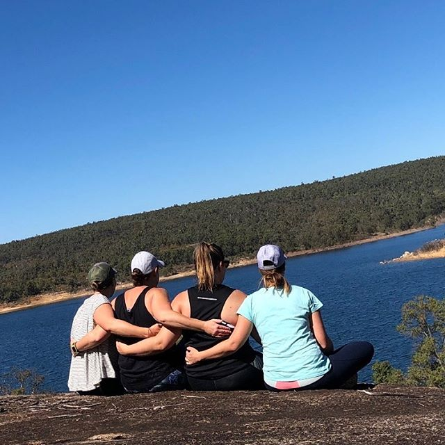 SISTER TRIBE // Do you have one? I feel so blessed to have these amazing women in my life! Grateful that they are also mamas and who I can go to for advice, support and guidance. Here we are just connecting in the bush, on a rock, enjoying nature 🌿🌸💜 LOVE you @evnaturopath_lisacrowley @jem_mahh @carleenmaree