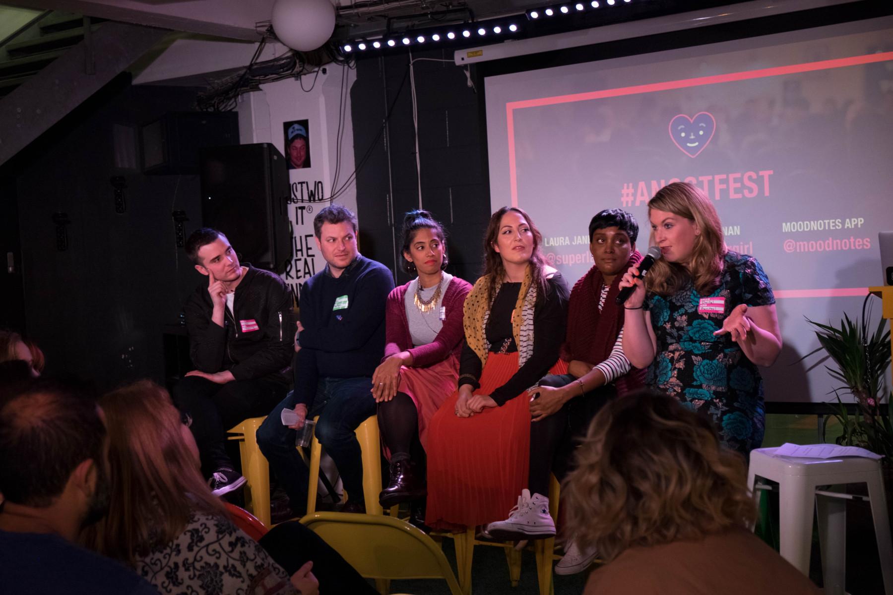 #Angstfest panel (Left to Right:Calum McSwiggan,Joel Beckman, Roshni Goyate, Amiera Sawas,Anni Ferguson and Daisy Buchanan).