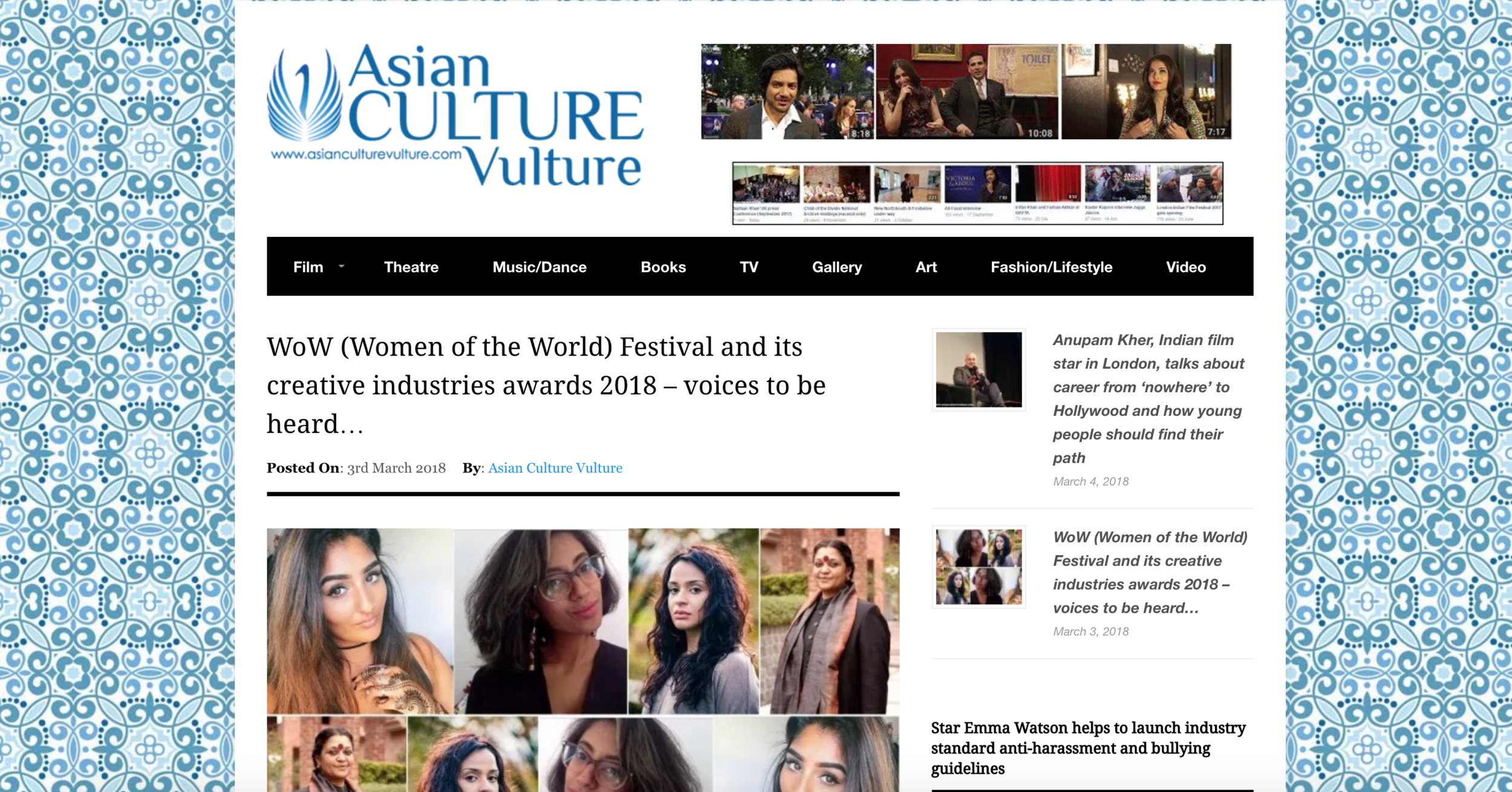 ASIAN CULTURE VULTURE  FEATURE  Asian Culture Vulture is an online arts and culture magazine founded to highlight and showcase creative work by South Asians living in the West. We are over the moon to have been recently featured alongside other south asians with our WOW UK nominations.