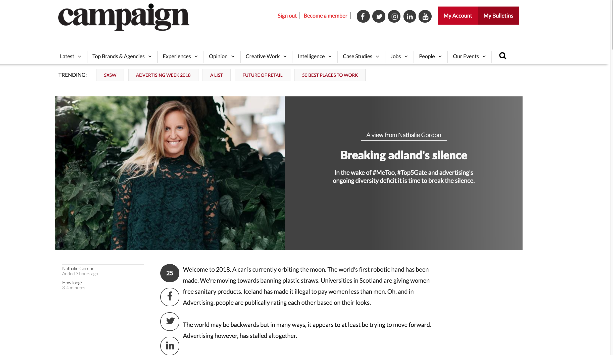 CAMPAIGN MAGAZINE  FEATURE  Nathalie Gordon wrote a great article for on how we all hold the power to correct the negative discourse in Adland - with the rise of initiatives like The Other Box (thank you for the shoutout Nat!) Read the article her below!