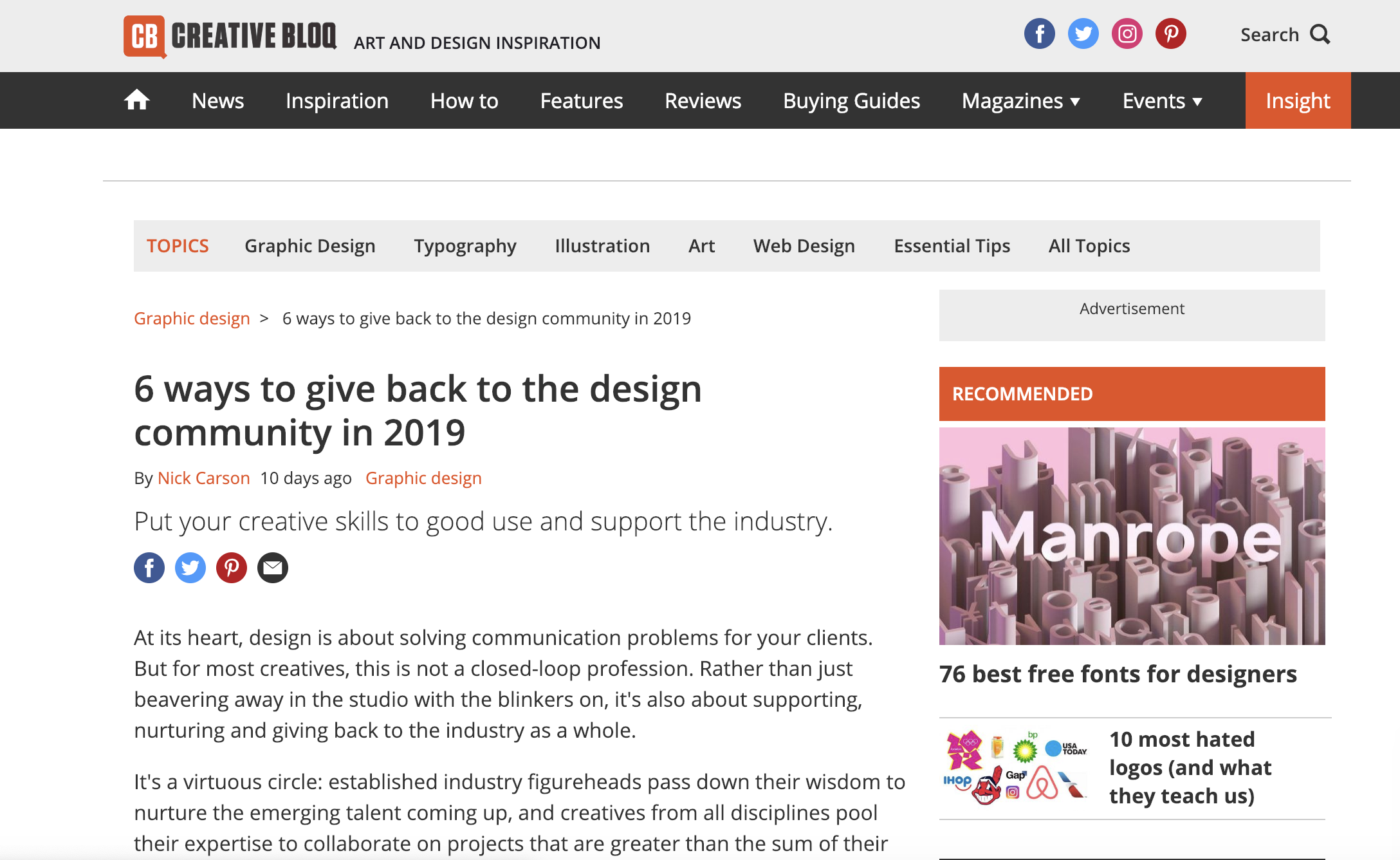 CREATIVE BLOQ  FEATURE  Creative Bloq did a lovely article about how we can give back to the industry, with a shoutout of The Other Box.  You can read it here.