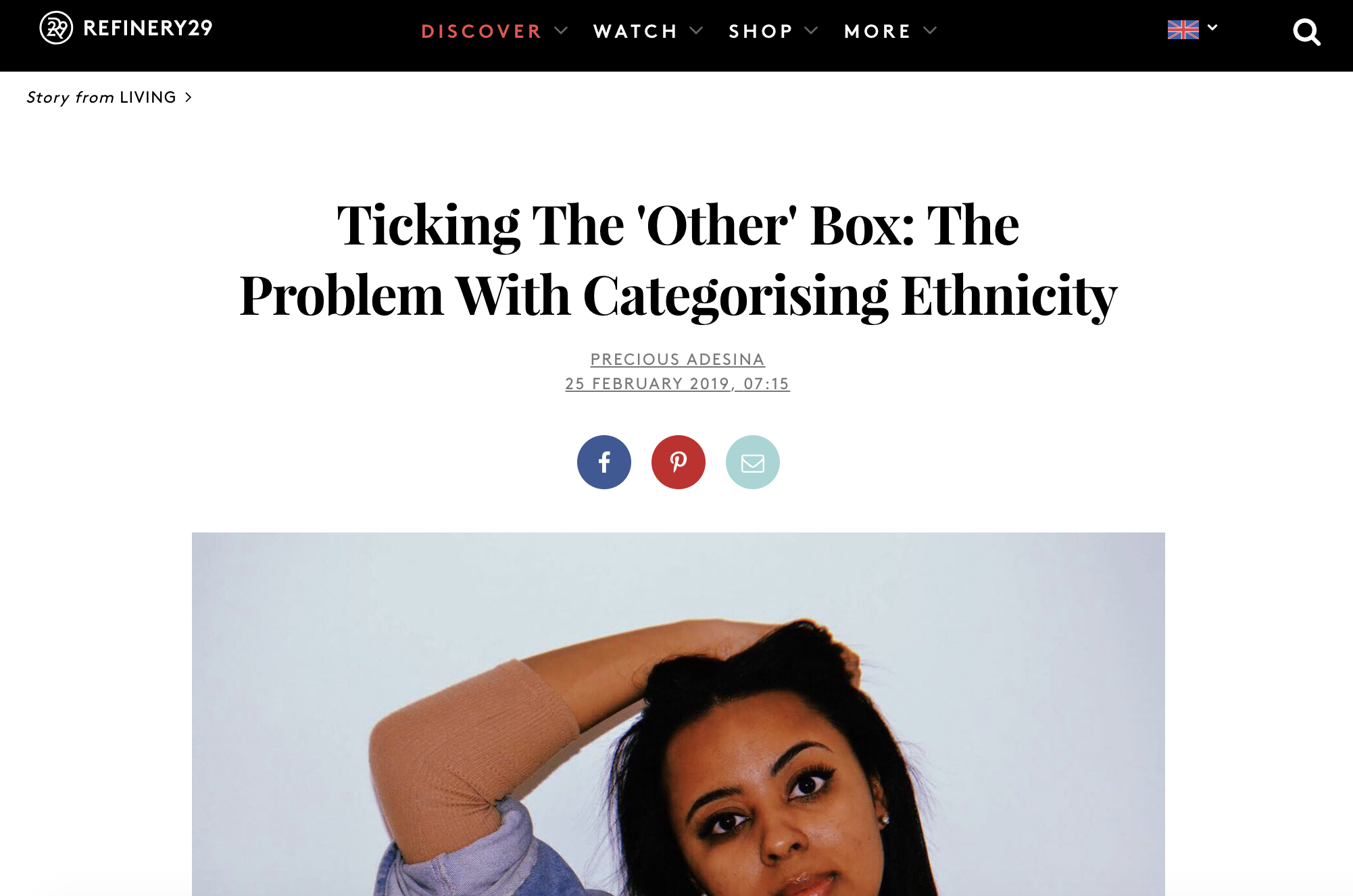 REFINERY 29  FEATURE  We recently spoke to Refinery 29 on ethnicity, identity, box-ticking and the origins of our name 'The Other Box'. You can read more  here .