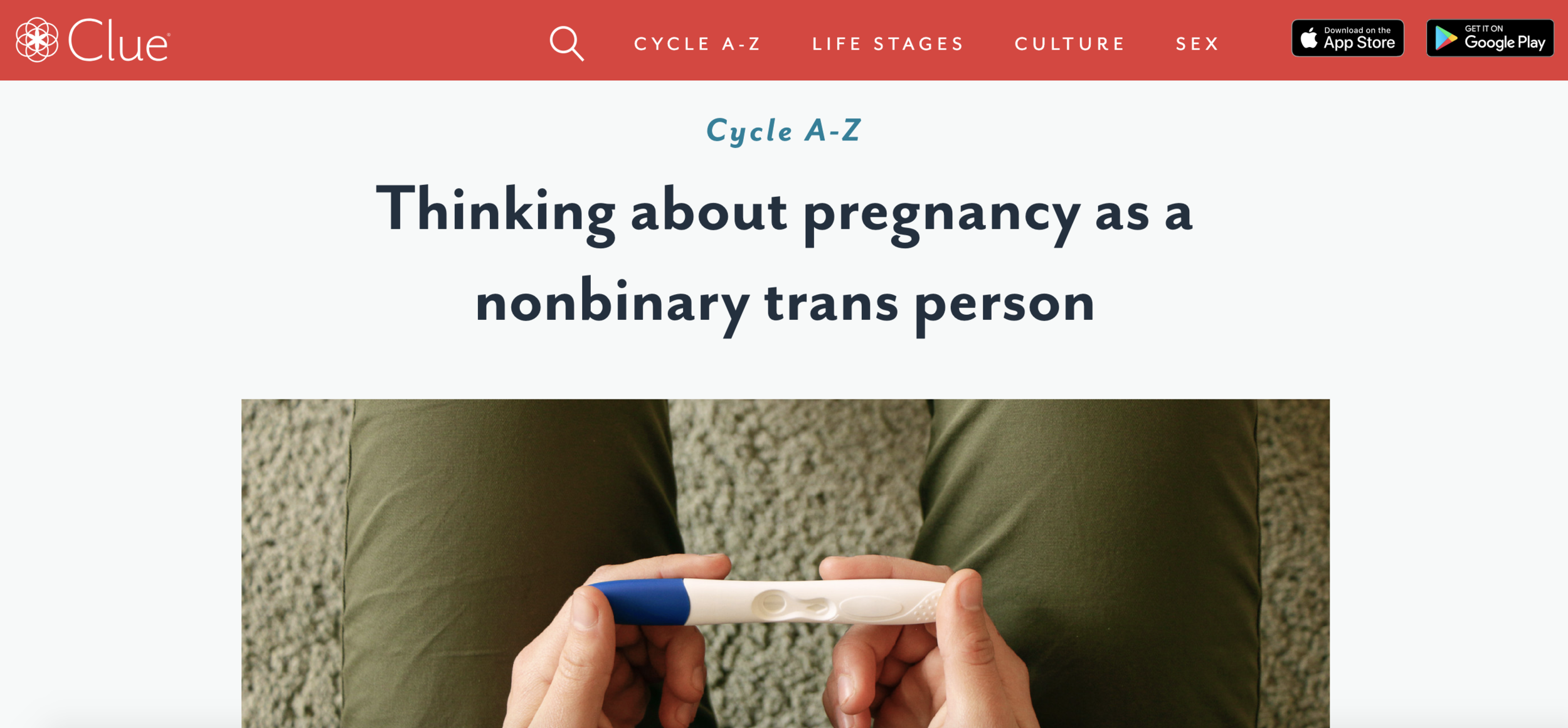 CLUE APP  FEATURE  Health-tech app Clue featured our Parenthood group on their article for parents thinking about pregnancy who are non-binary or trans. You can read the full piece  here .