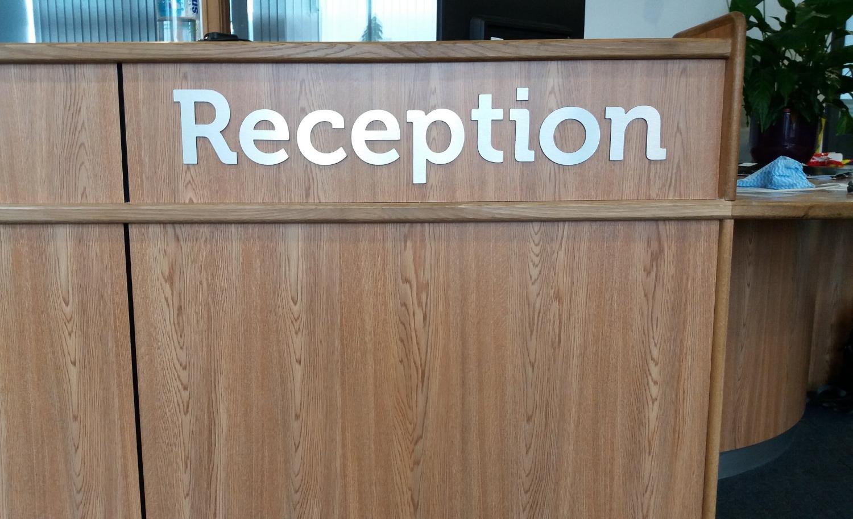Reception flat cut lettering & logo