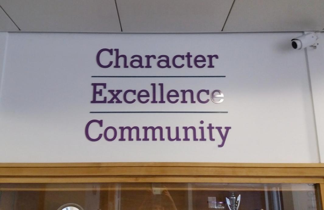School tag line, flat cut acrylic lettering