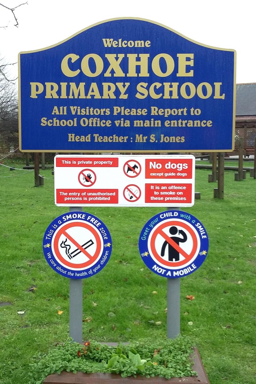 Coxhoe Primary Post Sign