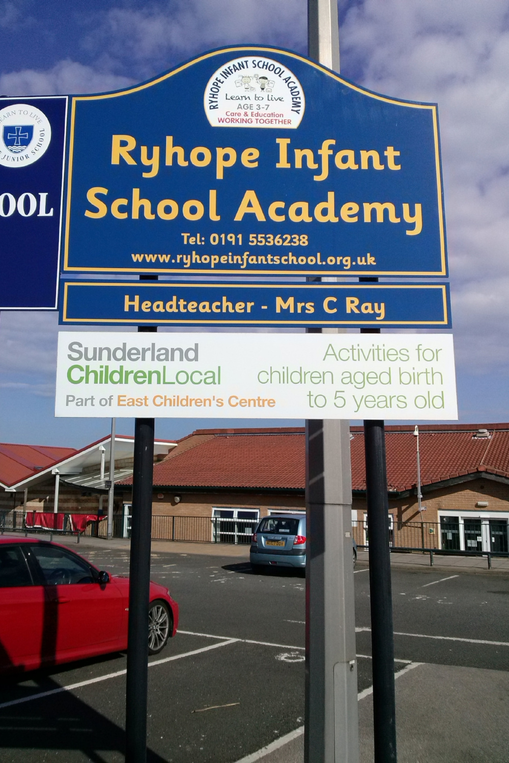 Ryhope Infant Post Sign