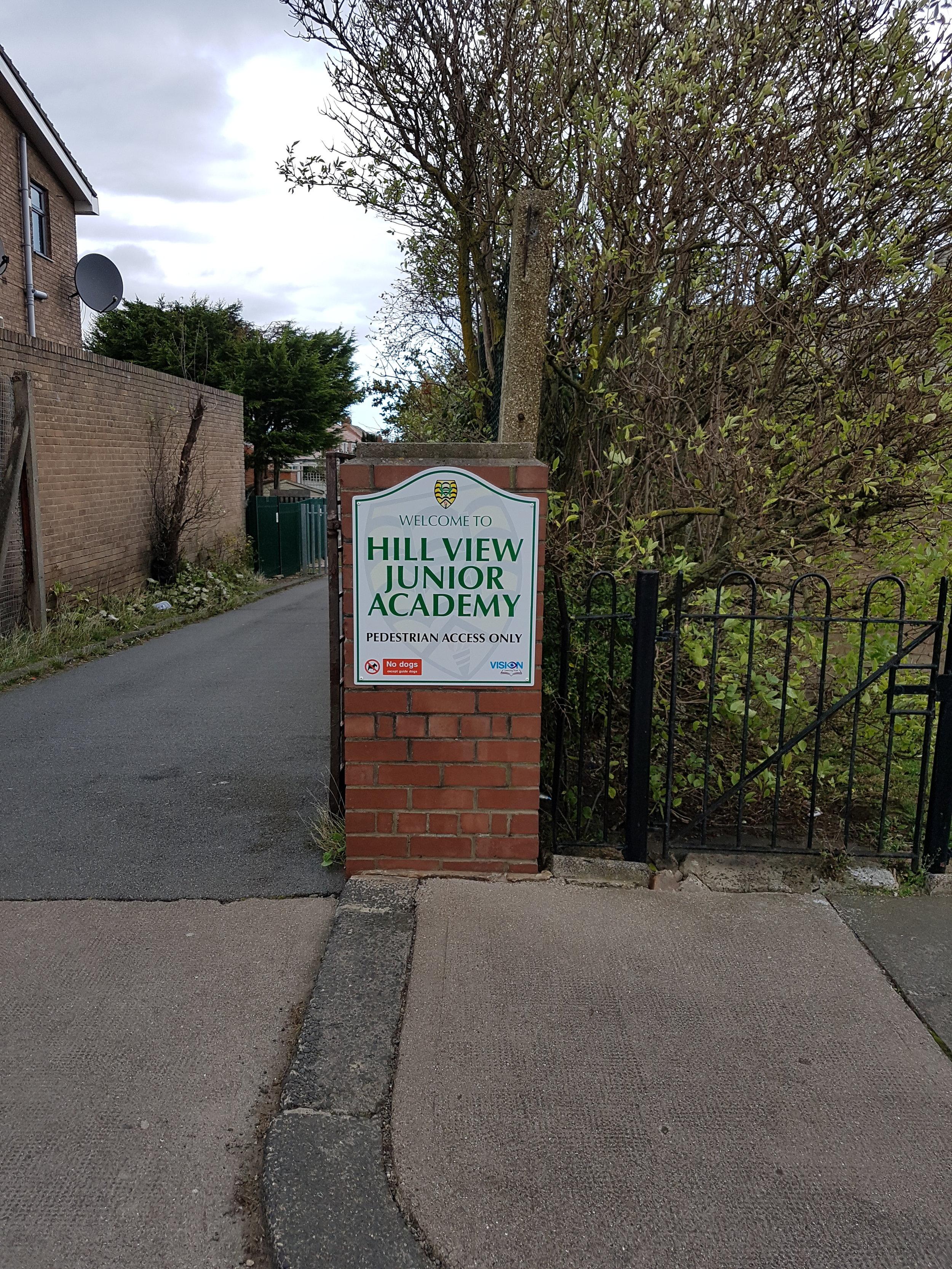 Hill View Brick Pillar Mounted Sign