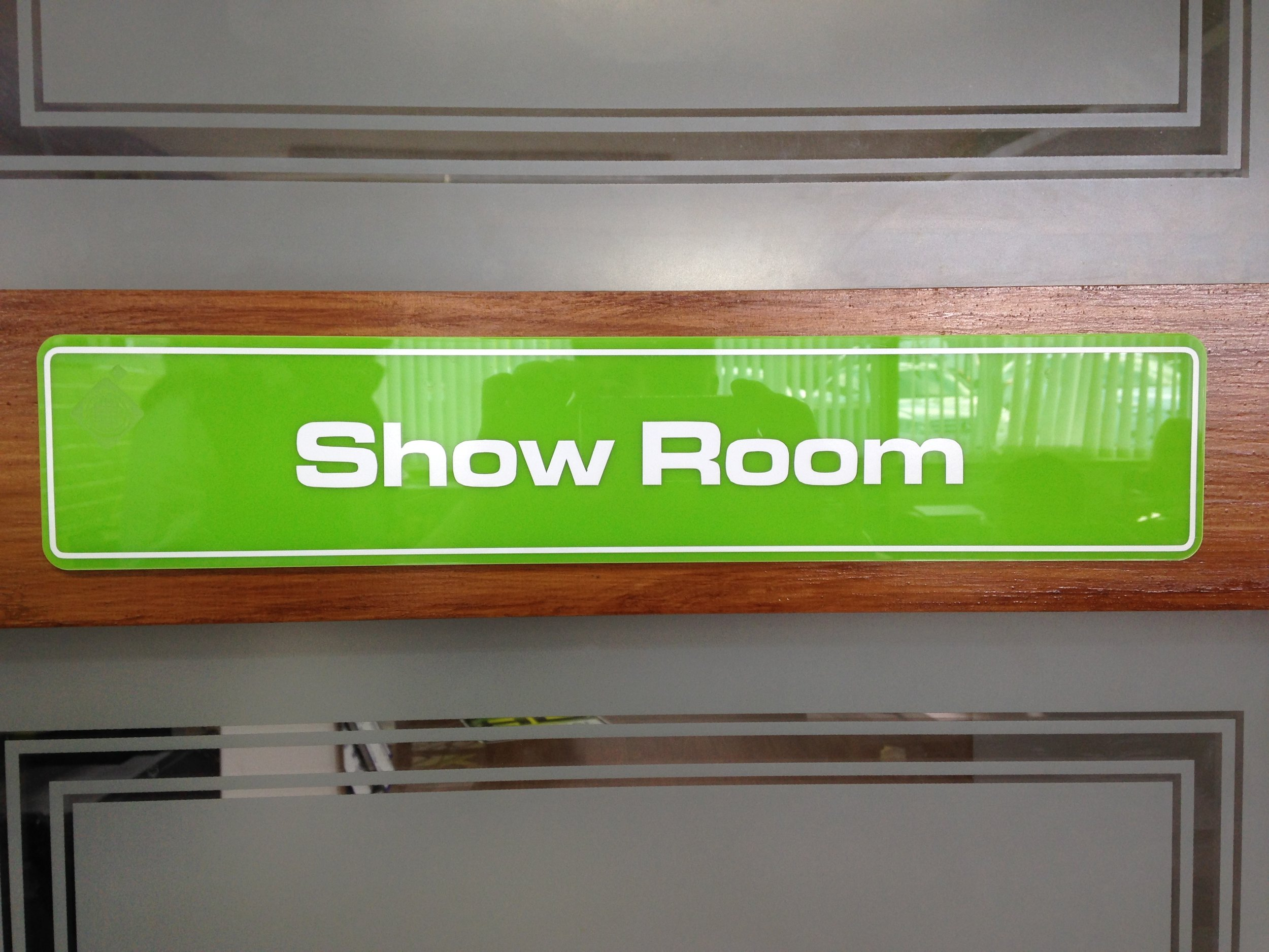Green Acrylic Door Sign + White Vinyl