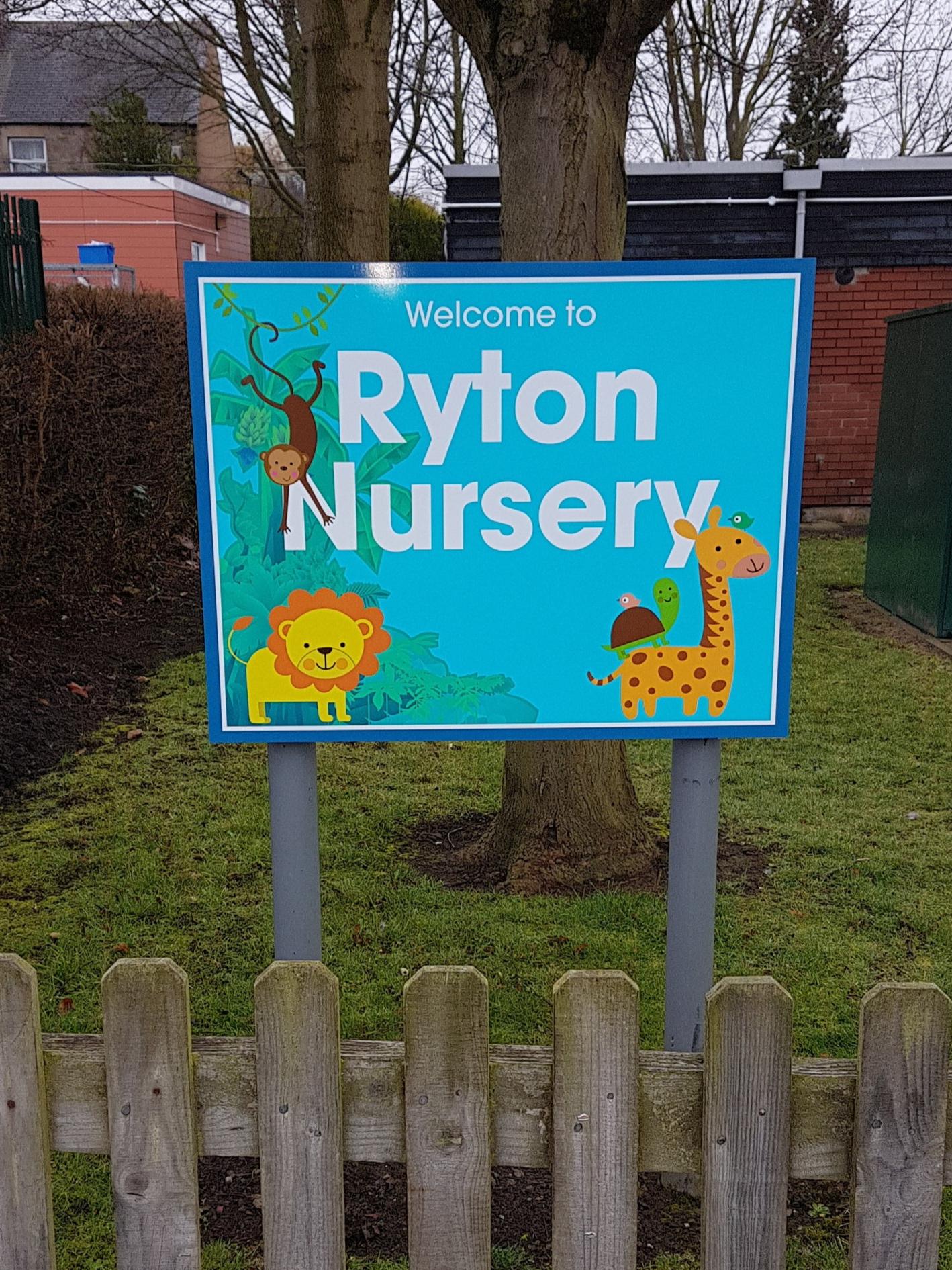 Ryton Nursery Post Sign