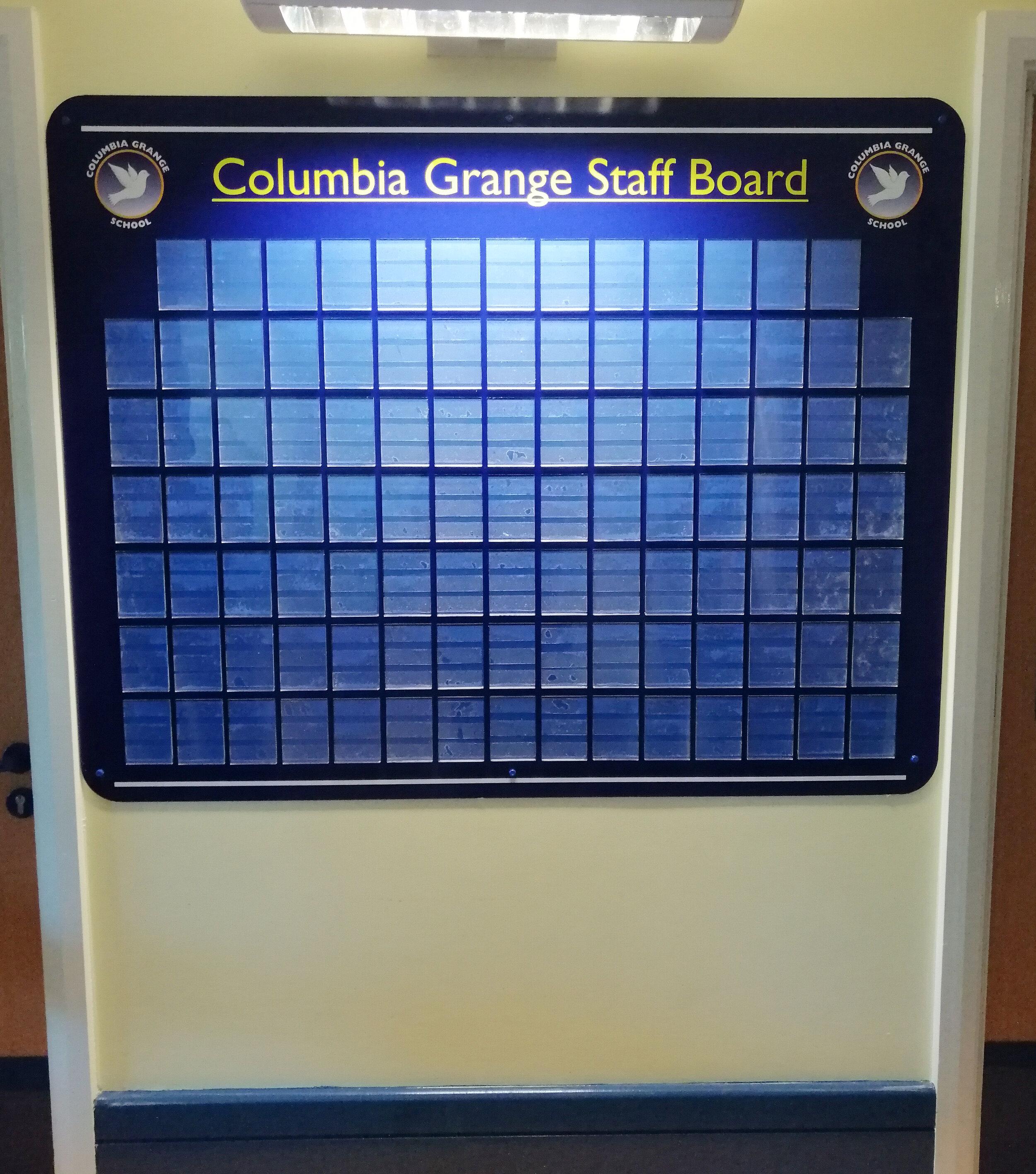 Columbia Grange Staff Board