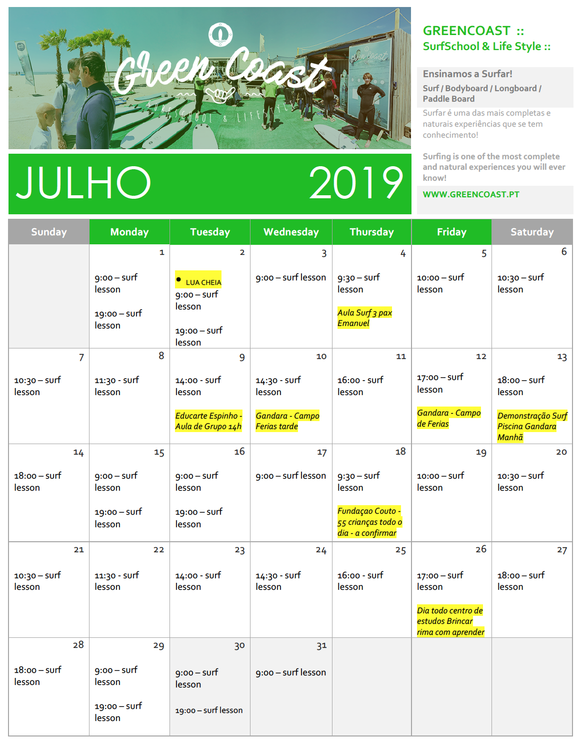 GreenCoast Calendario July 2019.png