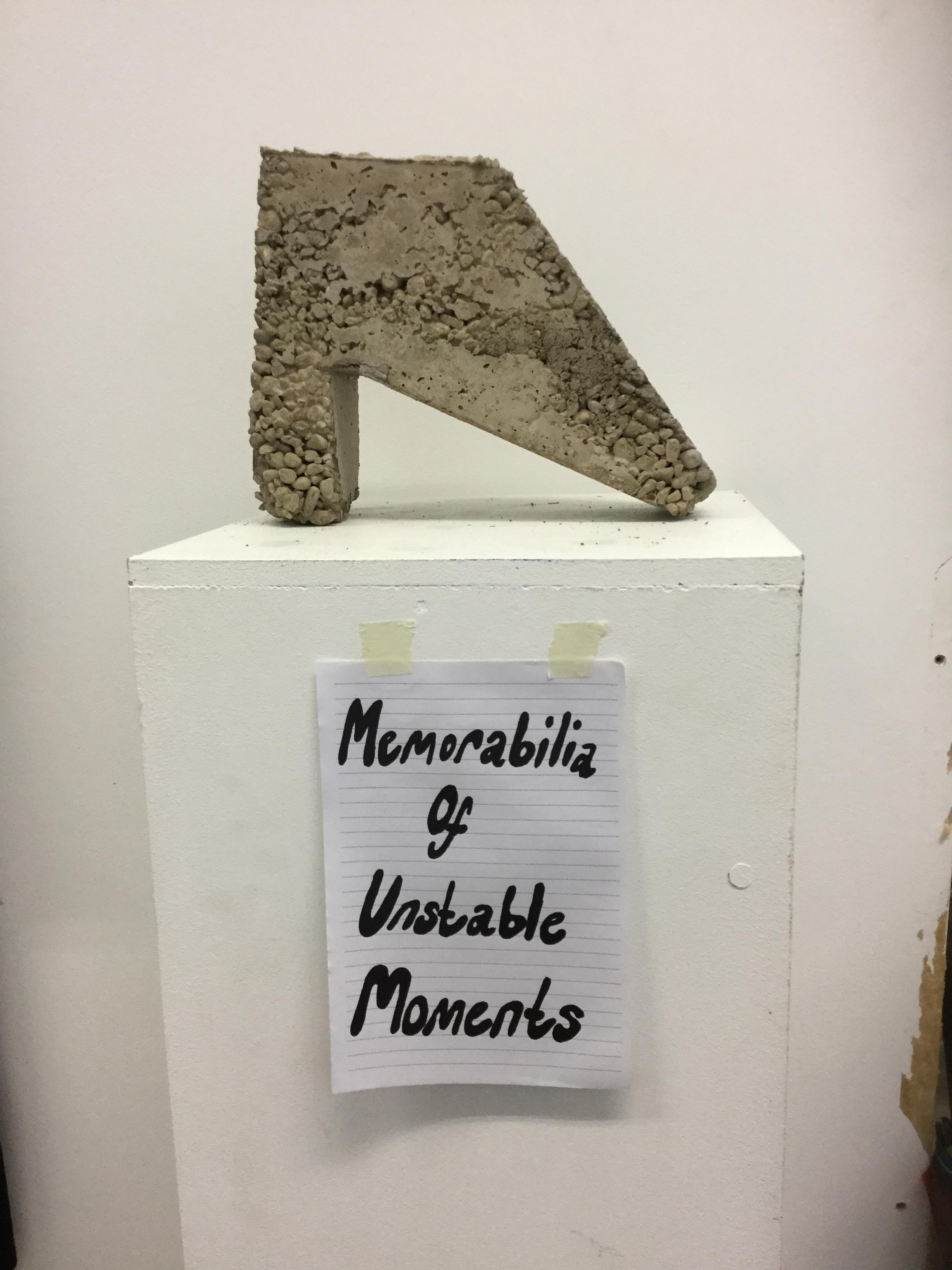 memorabilia of unstable moments. concrete and handwritten note. 2019