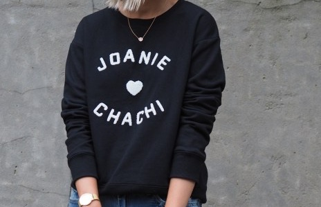 Retro all-rounder  And who  doesn't  love him? The light-hearted bouclé-embellished slogan adds personality to an otherwise classic, crew neck black sweat from  Hush . That we want to wear on Sunday, Monday...    Hush imagery source