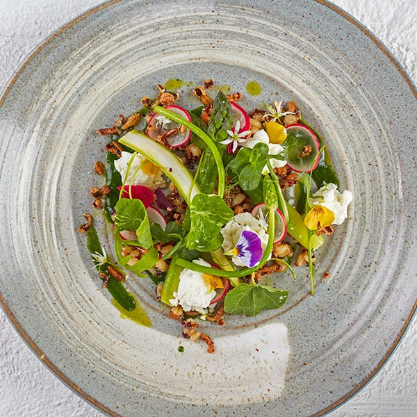 Where: SimpsonsWhat: Asparagus and goat's cheese - Two of our favourite things are asparagus and goat's cheese. Throw in beautiful nasturtiums, wild garlic flowers and crispy wild rice — cooked, dried and deep fried to achieve the requisite texture — and we're pretty much yours.Sample menu.