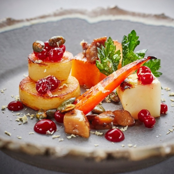 Where:The CrossWhat: Baked celeriac - Over in Simpsons'Kenilworth kin, it's all about salt baked celeriac and English verjus sauce — a sour but delicious invention. Also plated with roasted root veggies, lingonberries, chestnuts and salted pumpkin seeds complete the dish.Sample menu.