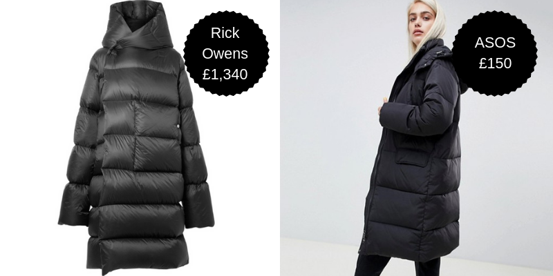 Padded coats - We're all experienced players in the lose-lose game of The British Winter now, right? The answer to staying warm, dry and looking gosh-darn gorgey at the same time is a massive padded coat. Sure, you could go for the Pricey McPriceFace Rick Owens option, but you could get this ASOS one instead. Or, you know, ten of them, for the same price as Rick's.