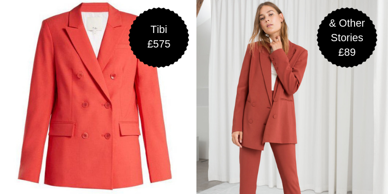 Blazers - Our love for double-breasted jackets and coats isn't going away. As well as the nod to power dressing, the ability to layer with a t-shirt or turtleneck underneath is a trusty transitional jacket solution. Maybe even go full 80s by wearing the matching set from & Other Stories. Go on. Do it. The two piece is still considerably less than the Tibi jacket alone.