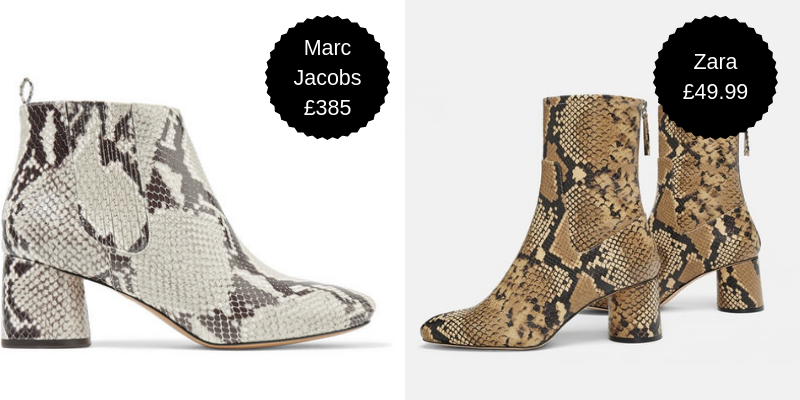 Snakeskin boots - New boots are a nice way to segue into the colder months. We're not denying anybody that right. A mid block heel means they're smart enough for work but not so high that you need to also pack a pair of trainers for the commute. These Zara booties are a bank balance-approved remedy to all of your insatiable Marc Jacobs cravings.