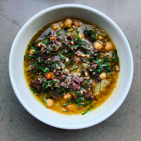 Turn up to   CanEat   and they'll always accommodate dietary requirements and make vegans happy. This braised fennel and chickpea soup with olive and walnut pesto will make them happiest.