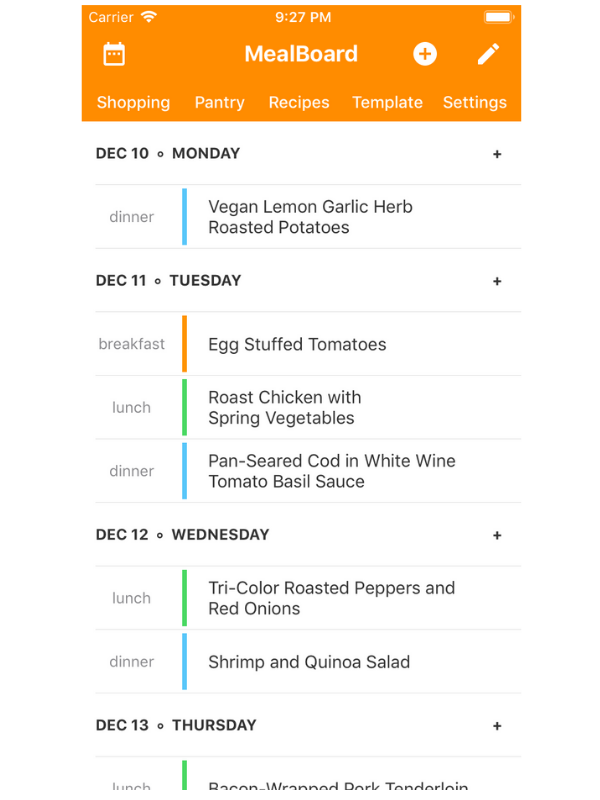 """Put an end to those endless """"what shall we have for dinner?"""" texts and create your meal plan with  Mealboard  .Browse recipesand let it generate your shopping list. Ta-da!"""
