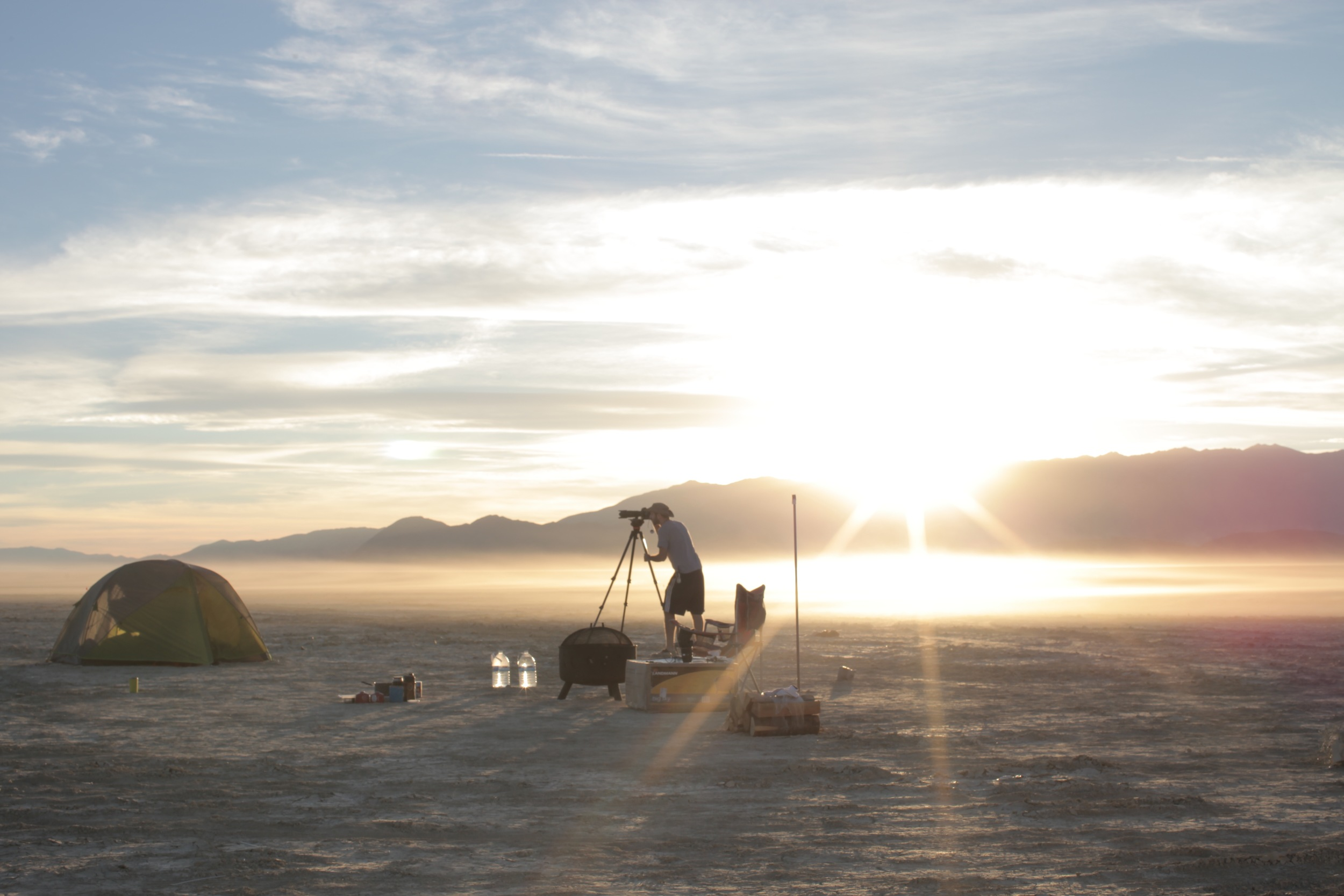 Alex Gorosh on location at Black Rock Desert for filming To Scale: The Solar System.