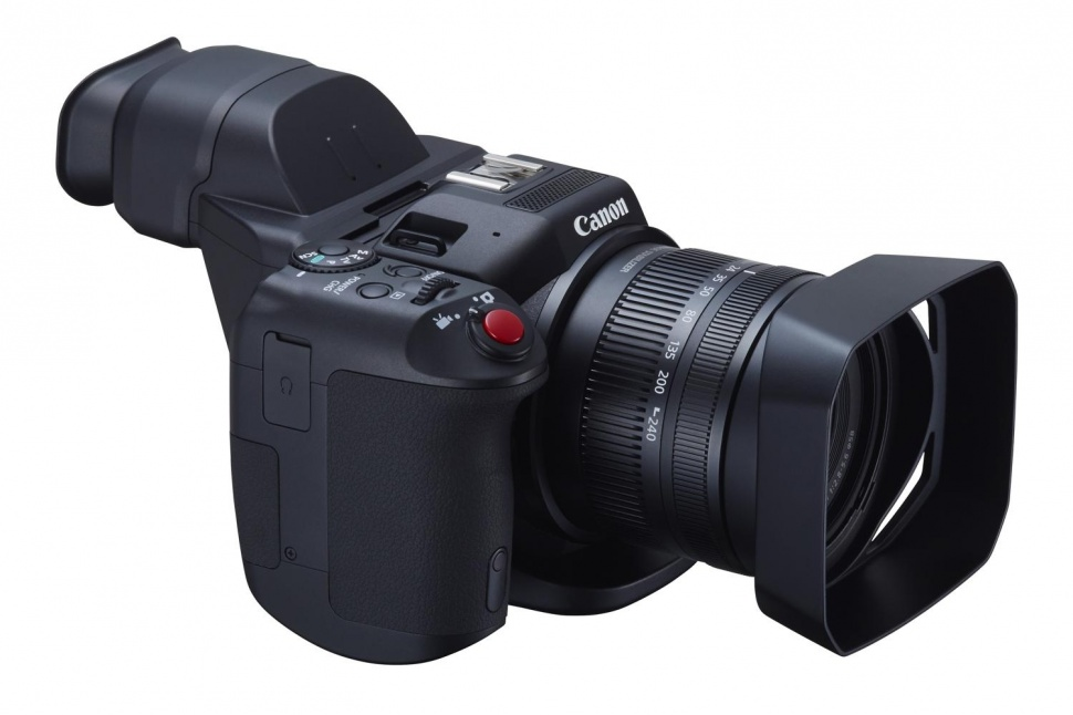 Canon XC10 with lens hood and viewfinder