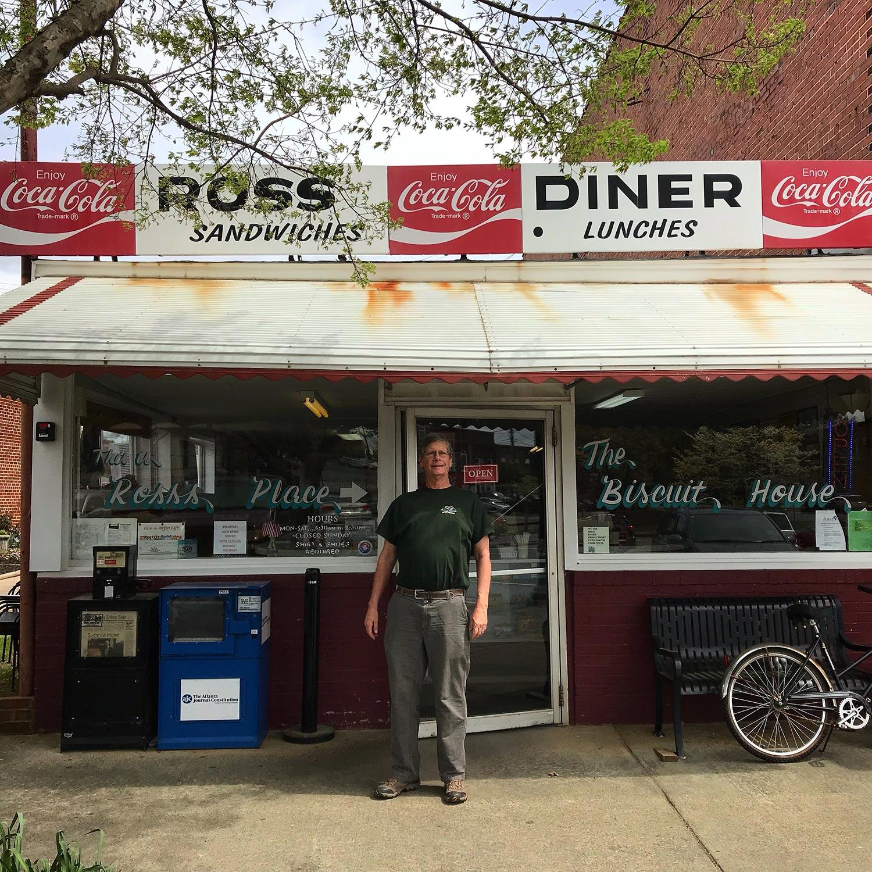 Ralph Oberg takes a workshop break at Ross Diner in Cartersville, Georgia.