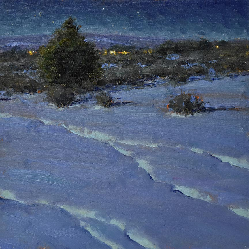 Night Tracks, 12x12 oil, by Dan Young