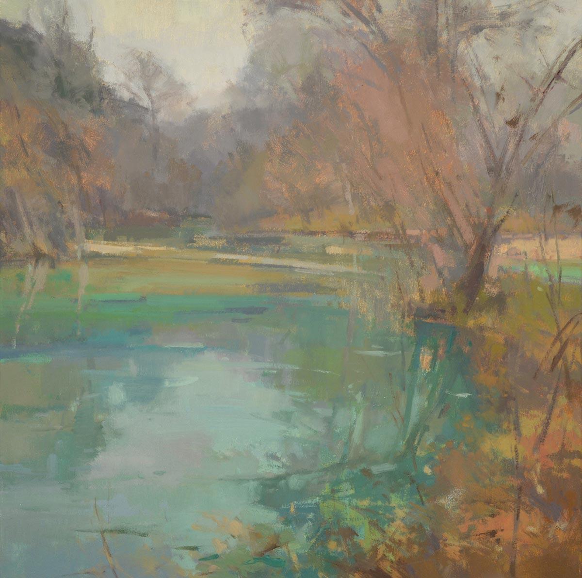 Mist Bandera Creek, 24x24 oil, by Jill Carver