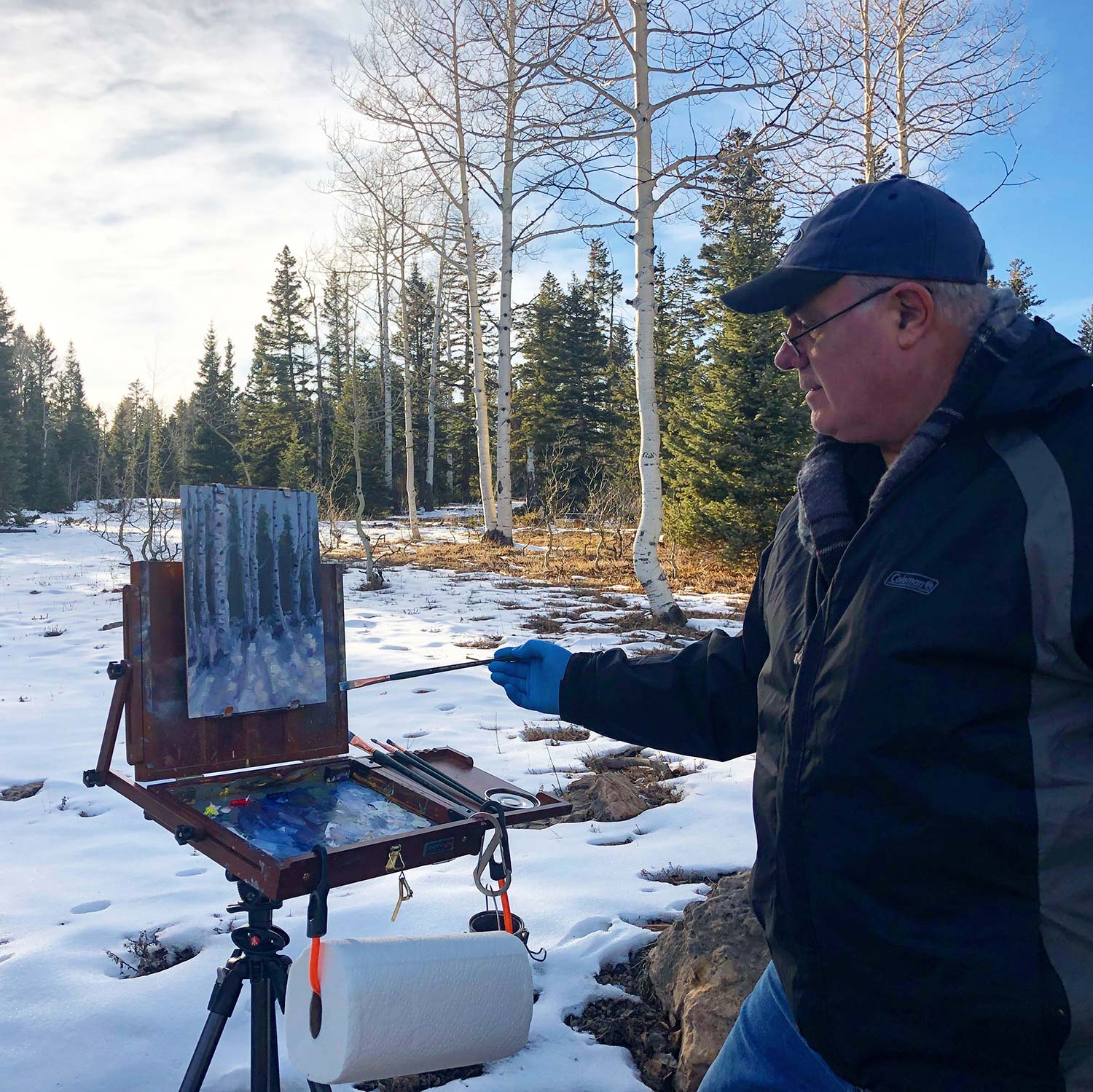 Carl Olson painting among the aspens on Divide Road at over 9,000' feet above sea level. Yes, it was cold!