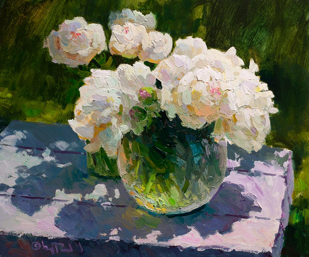 Peonies Aglow | 20x24 inch oil | © Gregory Packard
