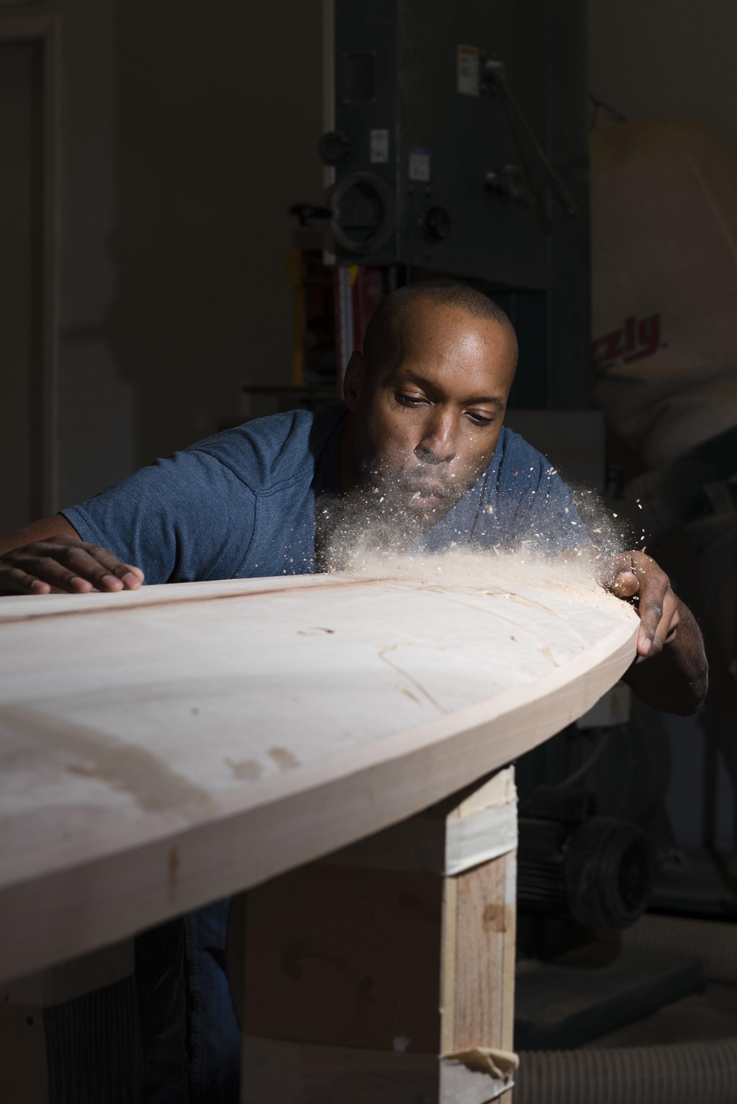 Tony working on a board