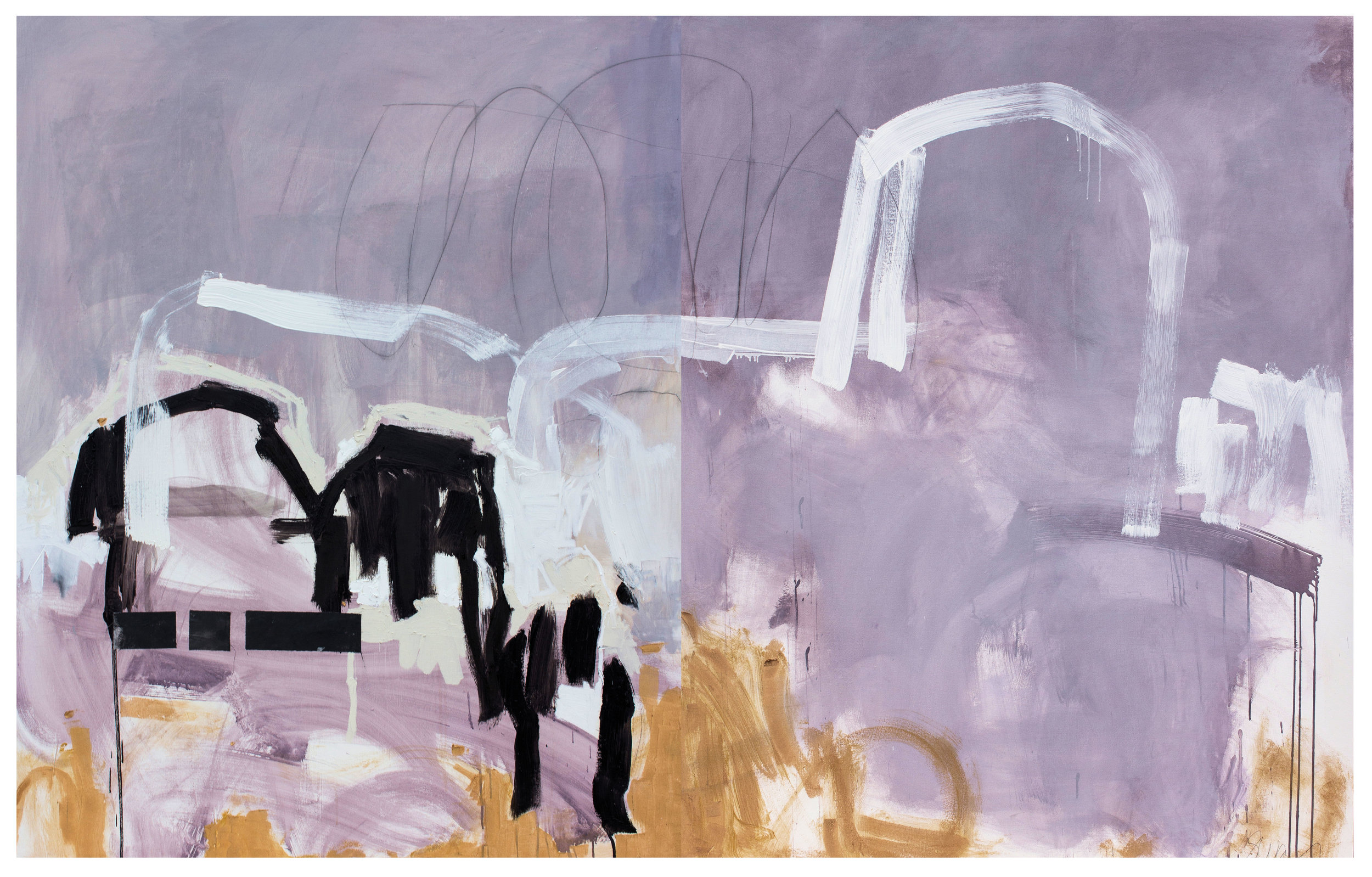 """Breaking Glass - 60"""" x 96"""" diptych. Light grey and very light lavender with white, gold and black. There is also graphite mark-making and a bit of recycled textile. Two pieces, unframed, ready to hang."""