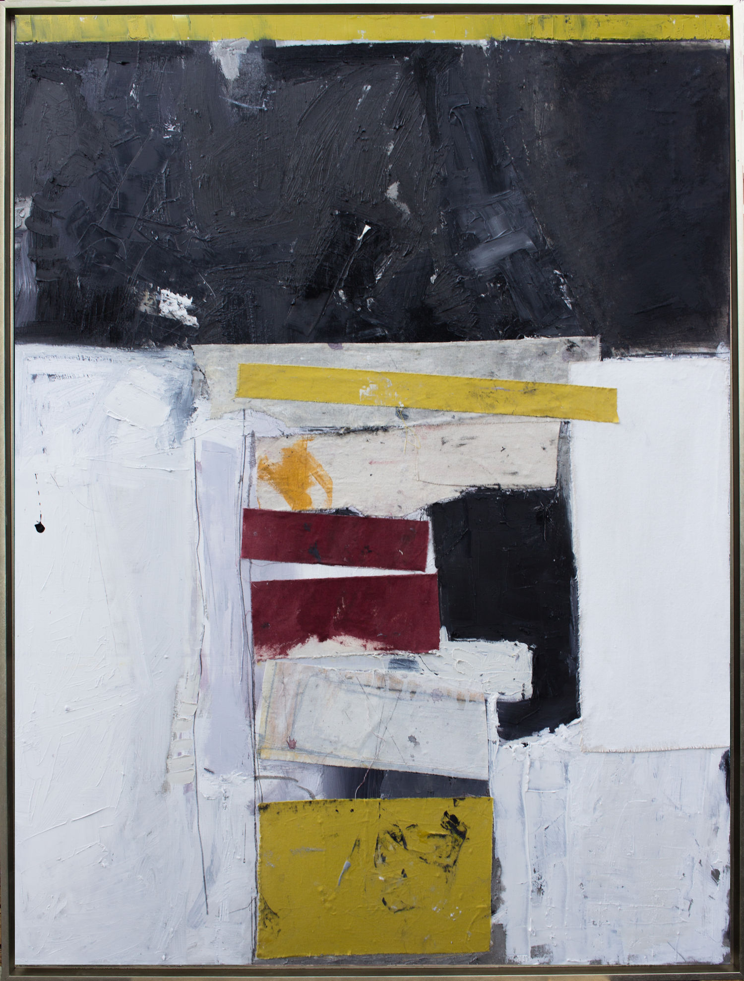 """Stacked - 36"""" x 48"""" oil and textile on canvas in float frame."""