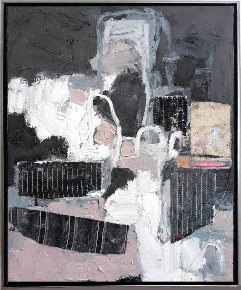 """Untitled Black - 30"""" x 24"""" thick oil and textile on canvas in gallery wrap frame. Ready to hang."""