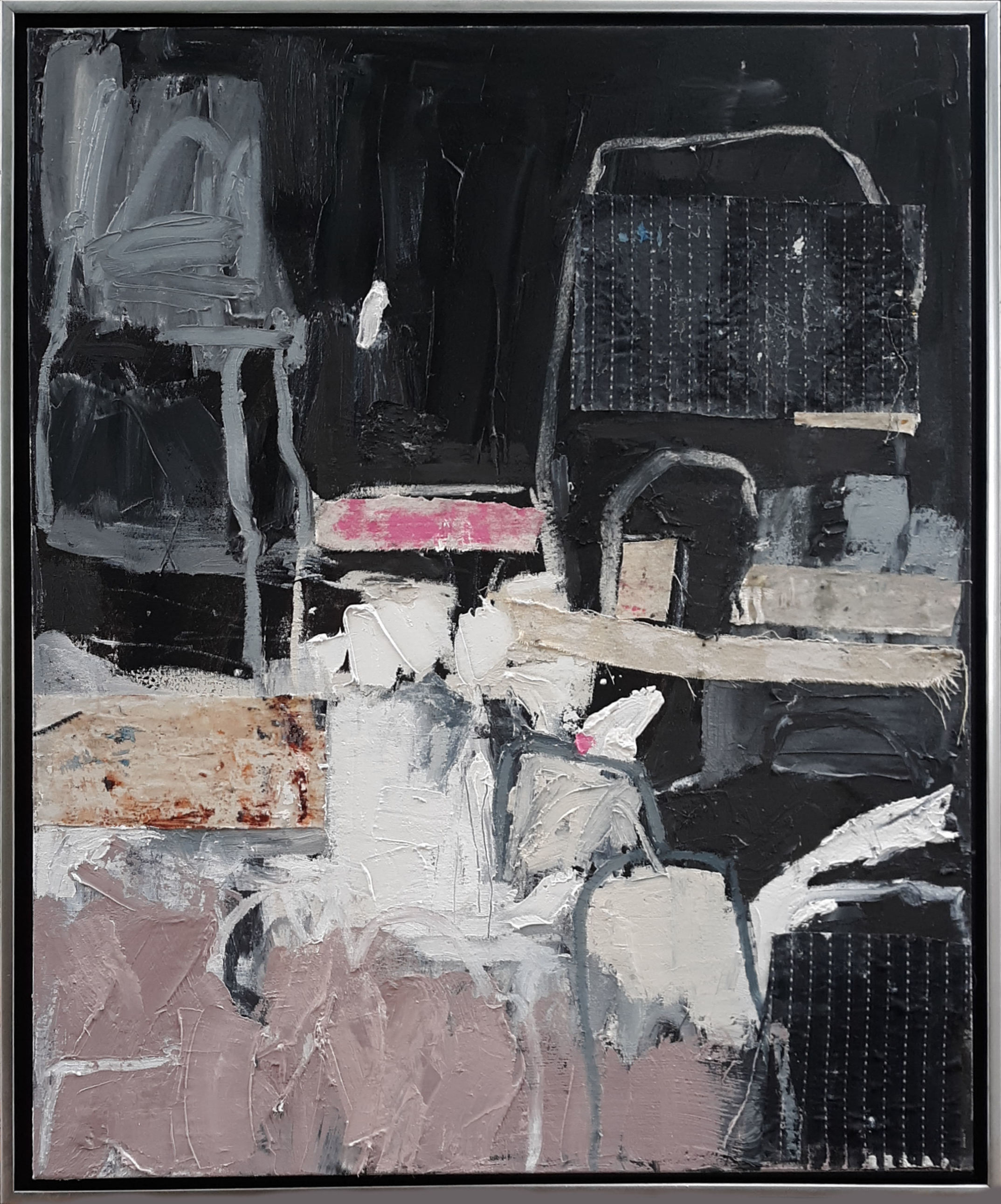 """Black is Back - - 30"""" x 24"""" thick oil and textile on canvas in gallery wrap frame. Ready to hang.This piece has been sold"""