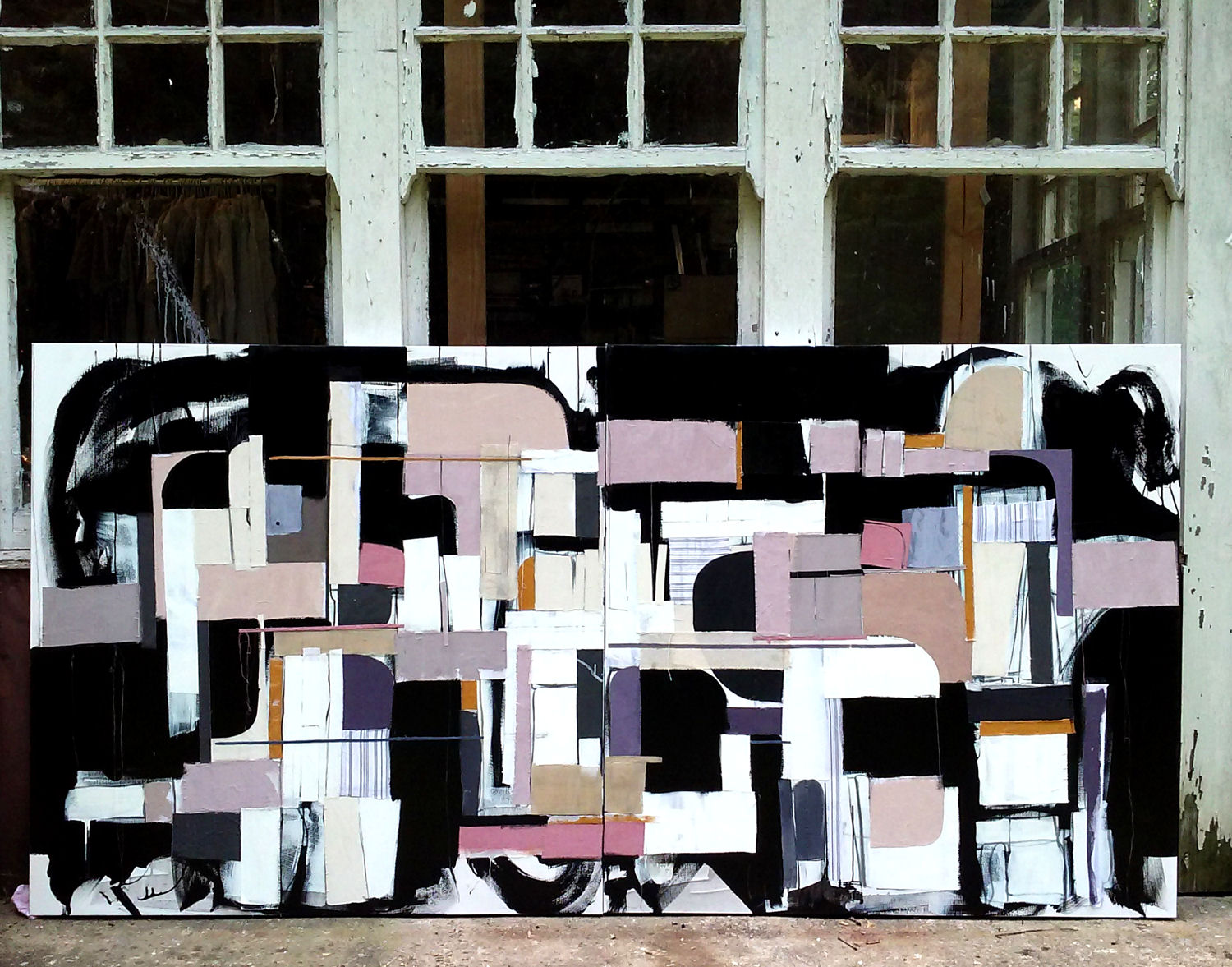 "Tar Beach - 48"" x 96"" Diptych, acrylic and textile on canvas.This piece has been sold."