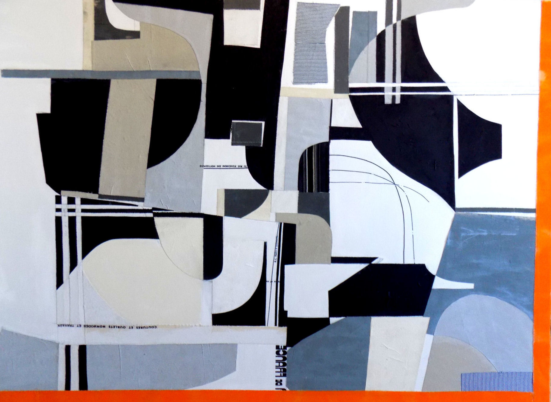 "Composition No. 12 - 36"" x 48"" Acrylic and textile on canvasThis piece has been sold"