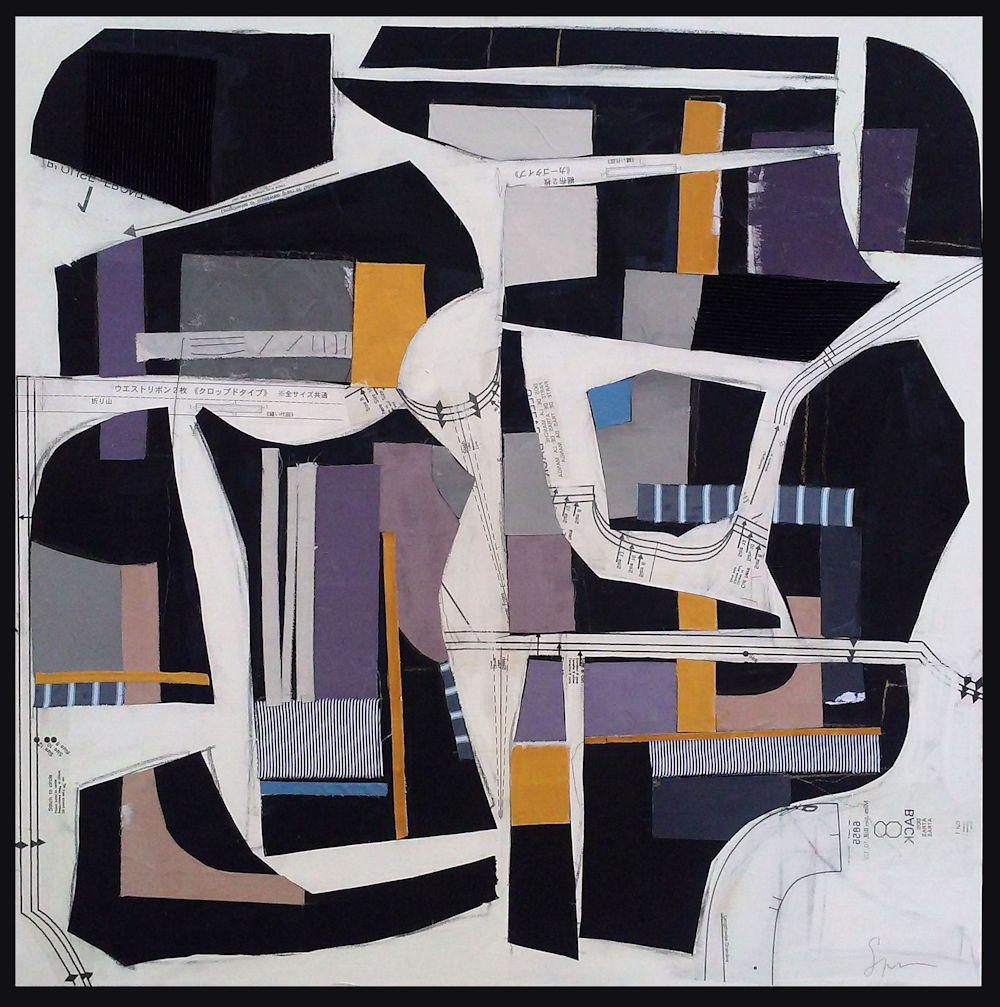 "30 Montainge - 36"" x 36"" Acrylic and textile on canvasThis piece has been sold"