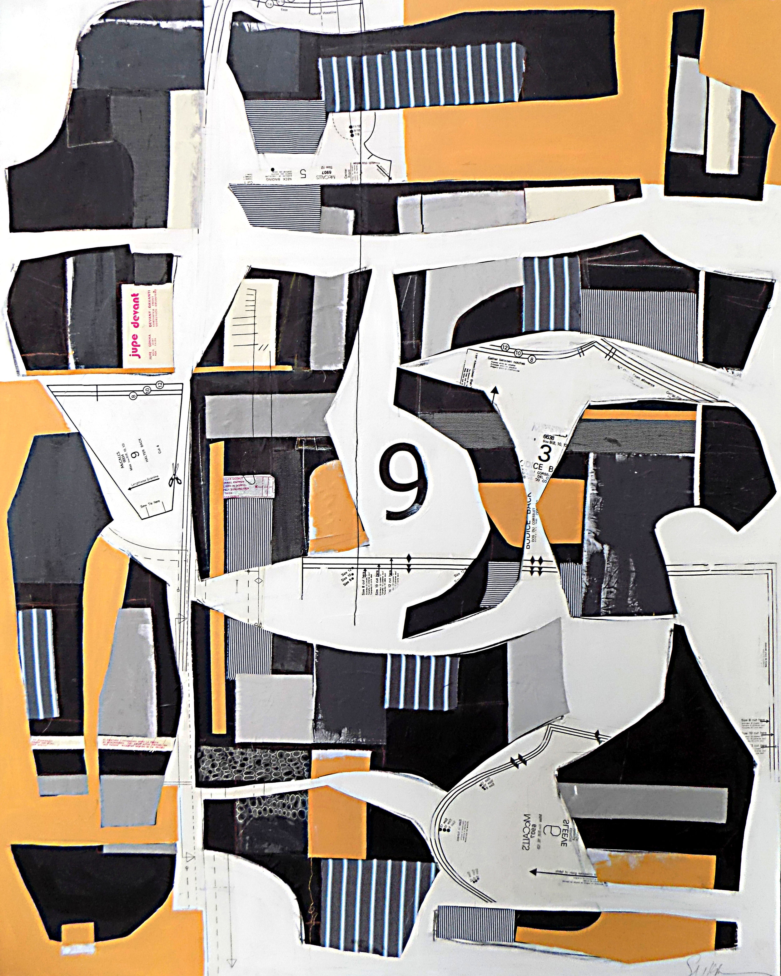 Deconstructed No. 9 - 4' x 5' Acrylic and textile on canvasThis piece has been sold