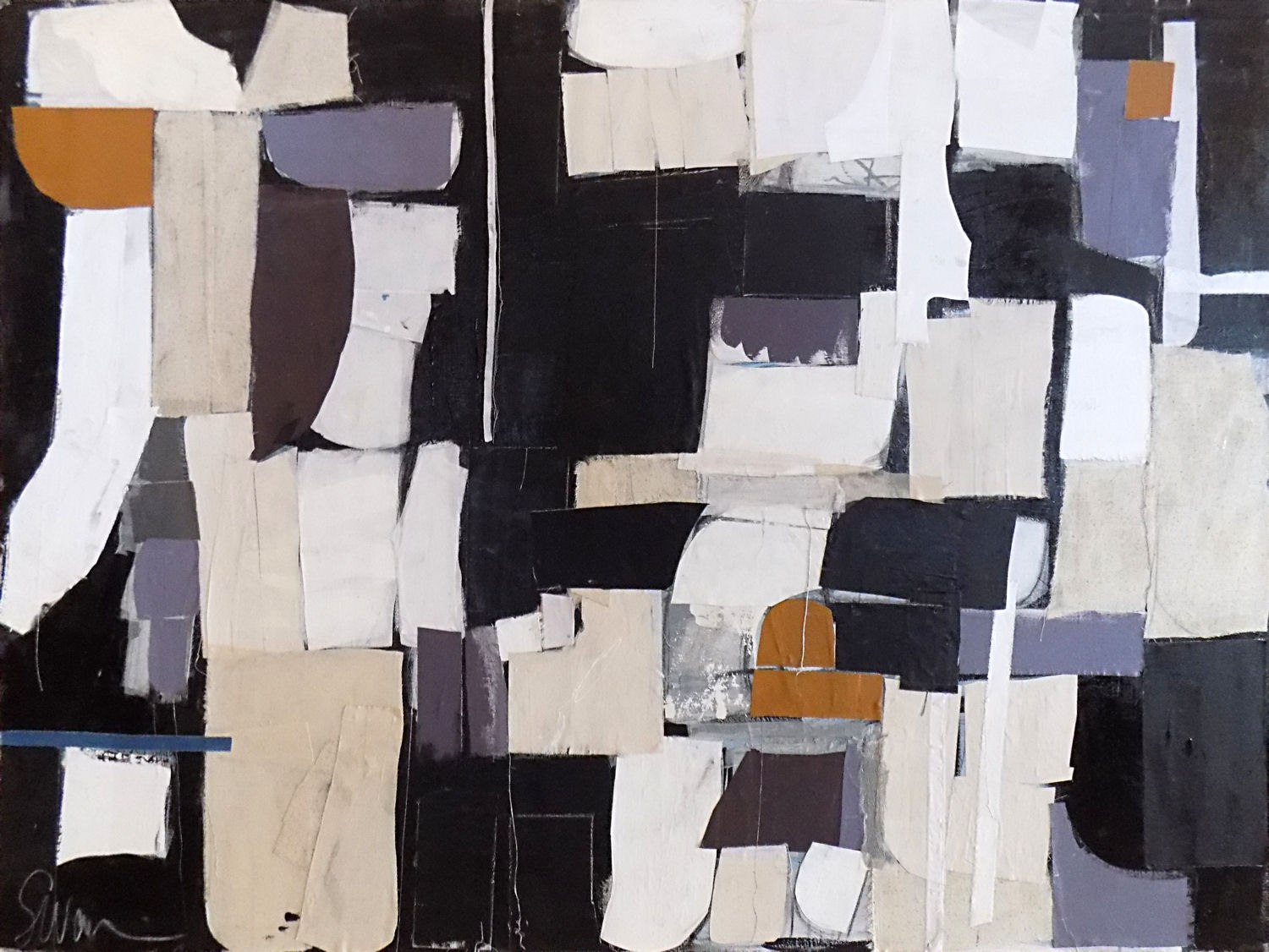 "Downtown No. 2 - 48"" x 36"" Acrylic and textile on canvasThis piece has been sold"