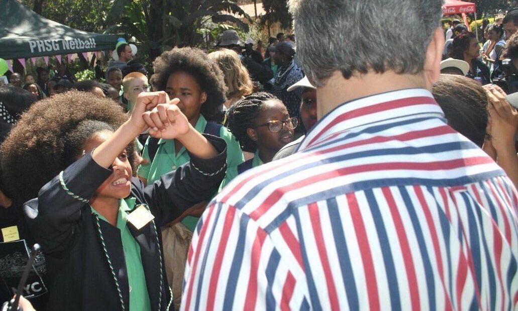 Protest at the school in Pretoria, SA