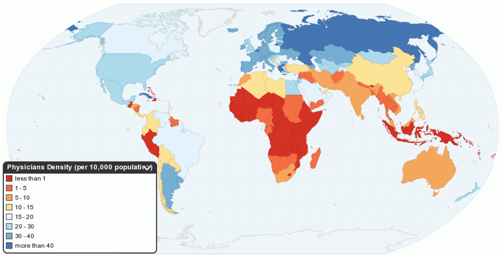Global distribution of the health workforce (per 10,000 population)(3)