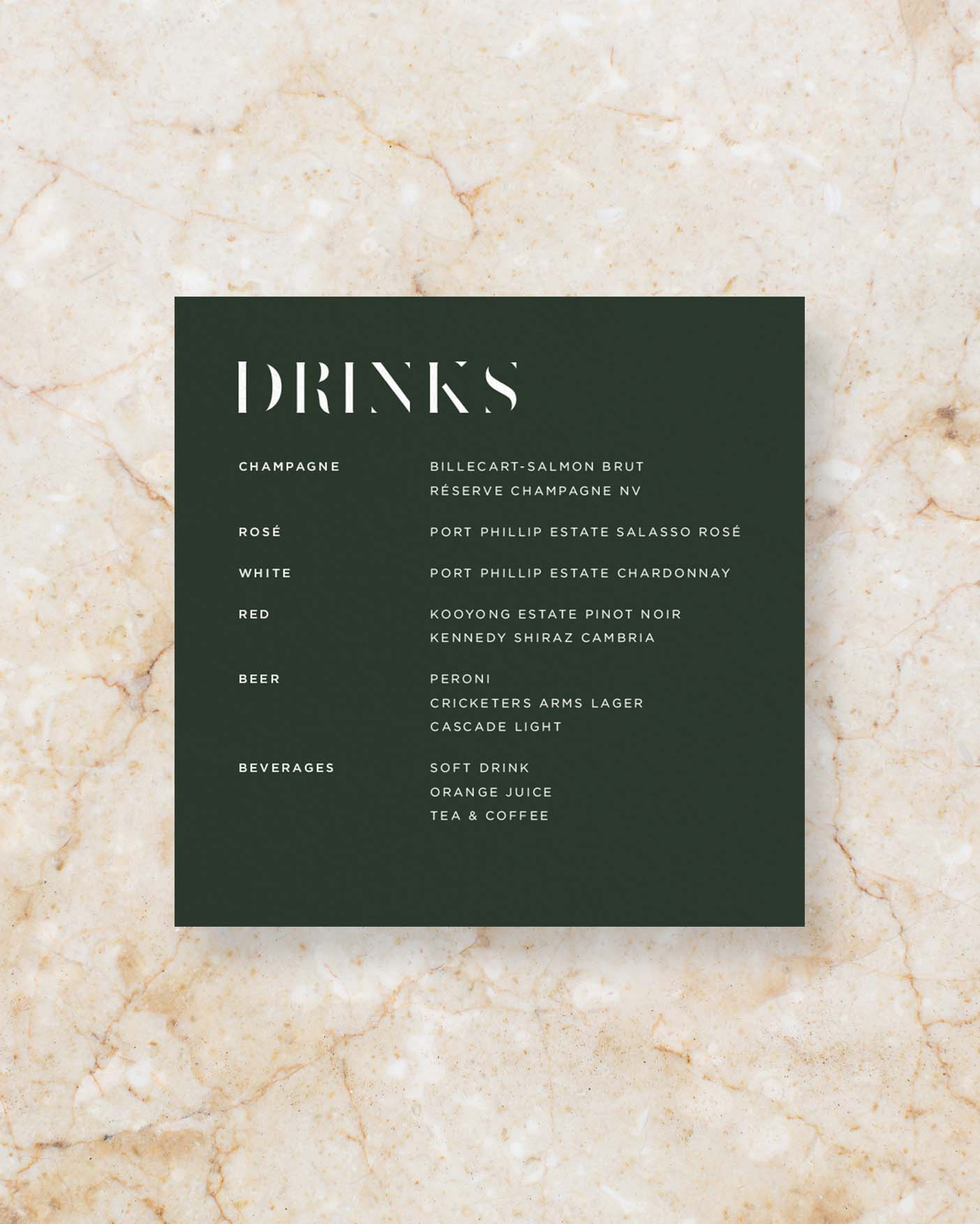 Drinks Menu - Green