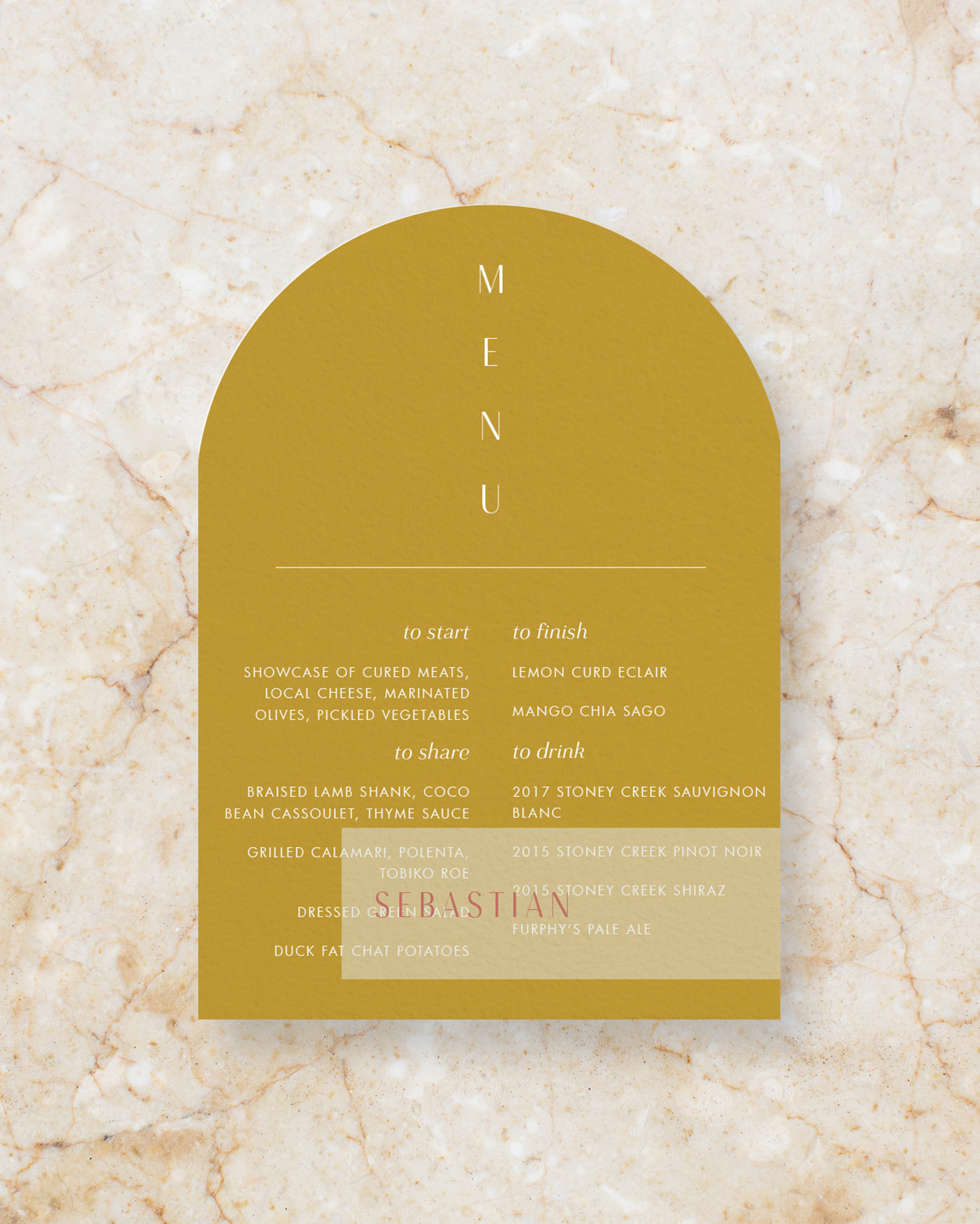 Arch Menu with Vellum Place Card