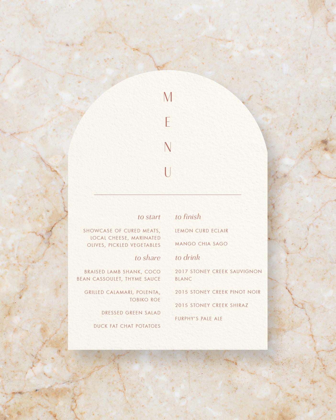 Arch Menu - Cream