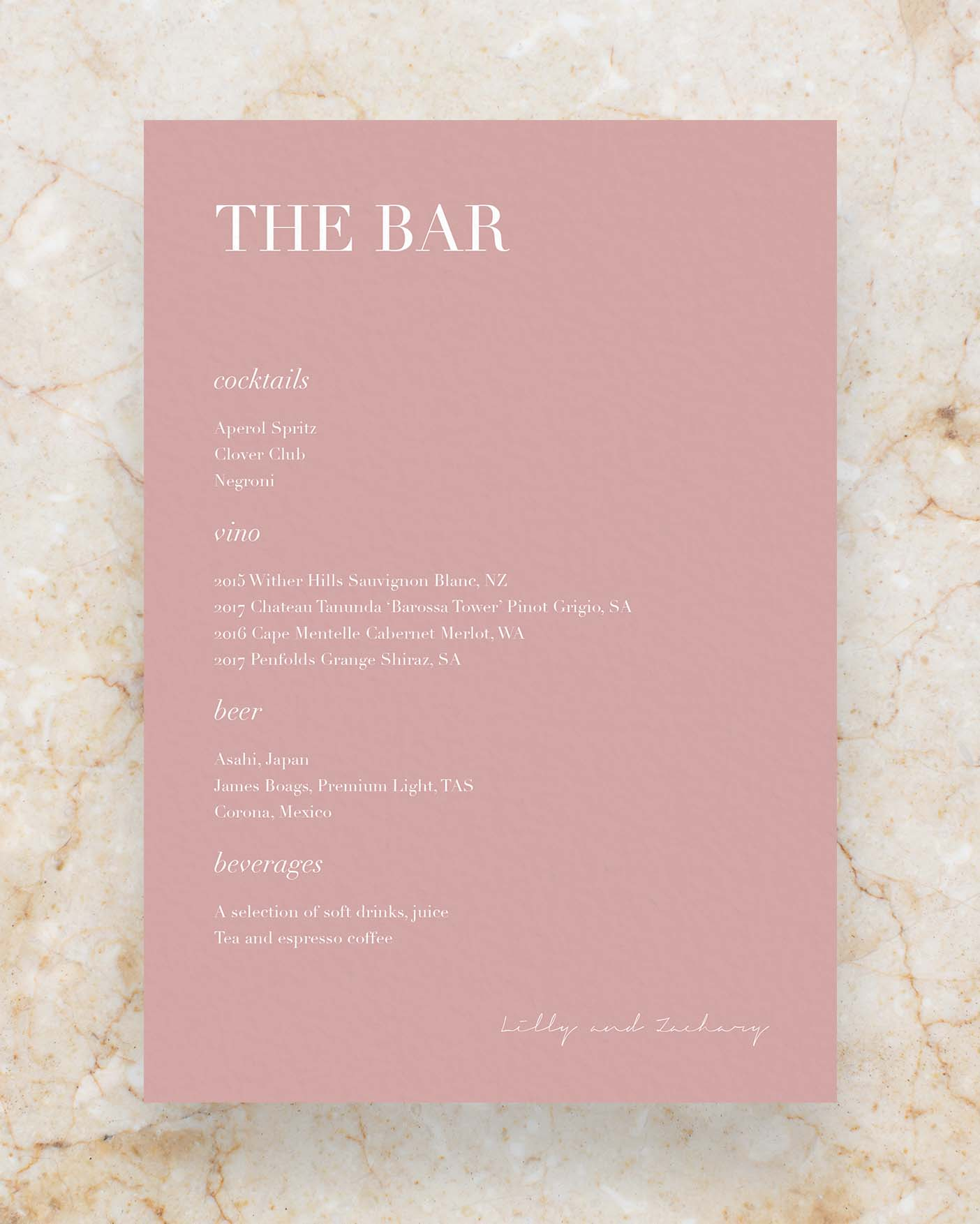 Drinks Menu - Rose